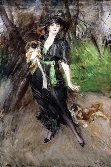 Portrait of a Lady, Lina Bilitis, with Two Pekineses, 1913-Giovanni Boldini-Giclee Print