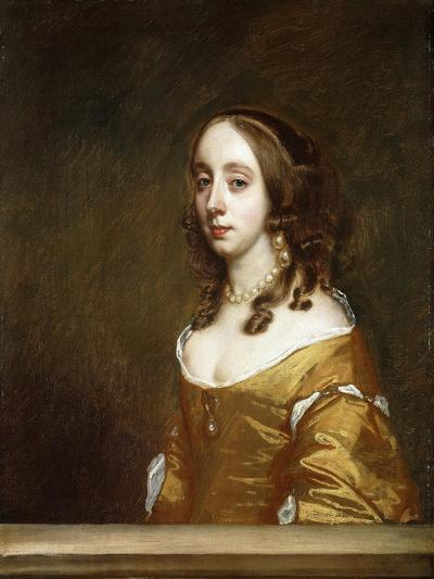 Portrait of a Lady of the Popham Family, Half-Length, Behind a Casement, Wearing an Orange Dress-Sir Peter Lely-Giclee Print