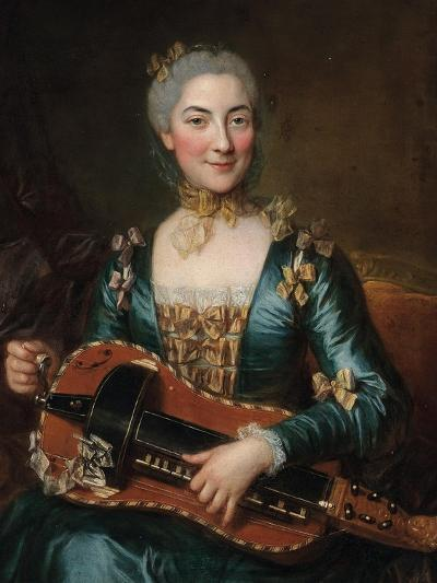 Portrait of a Lady Playing a Hurdy-Gurdy-Donat Nonotte-Giclee Print