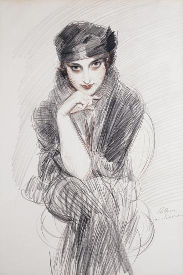 Portrait of a Lady, Possibly Madam Van Cleef (Nee Lopez Penna Hebe)-Paul Cesar Helleu-Giclee Print