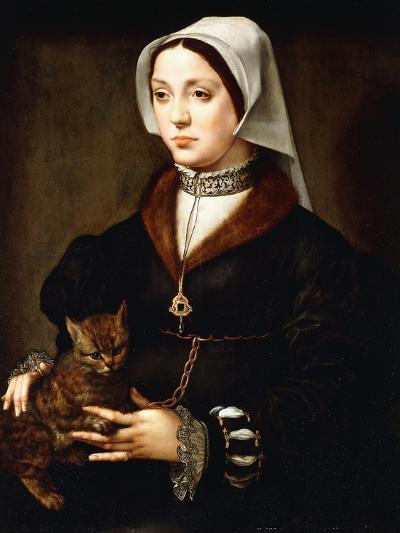 Portrait of a Lady, Three-Quarter-Length, Wearing Dark Costume, Holding a Cat-Ambrosius Benson-Giclee Print