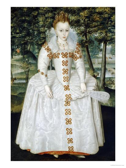 Portrait of a Lady, Traditionally Identified as Queen Elizabeth of Bohemia, Dated 1603-Robert Peake-Giclee Print