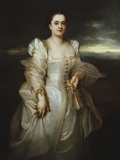 Portrait of a Lady, Wearing a White Dress Embroidered with Pearls-Joseph Bail-Giclee Print