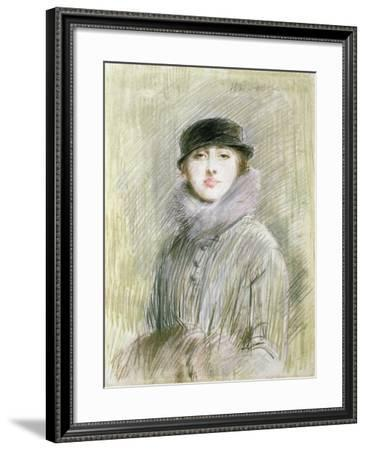 Portrait of a Lady with a Fur Collar and Muff, 20th Century (Drawing)-Paul Cesar Helleu-Framed Giclee Print