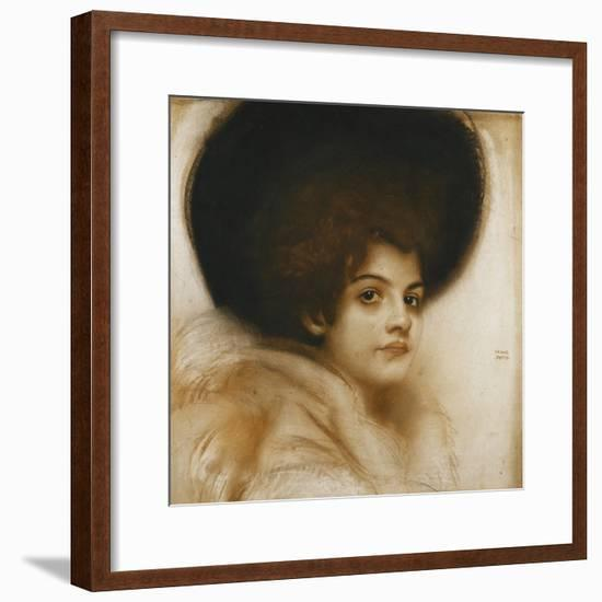 Portrait of a Lady with a Hat-Franz von Stuck-Framed Giclee Print