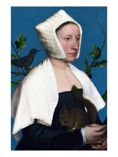 Portrait of a Lady with a Squirrel and a Starling-Hans Holbein the Younger-Art Print
