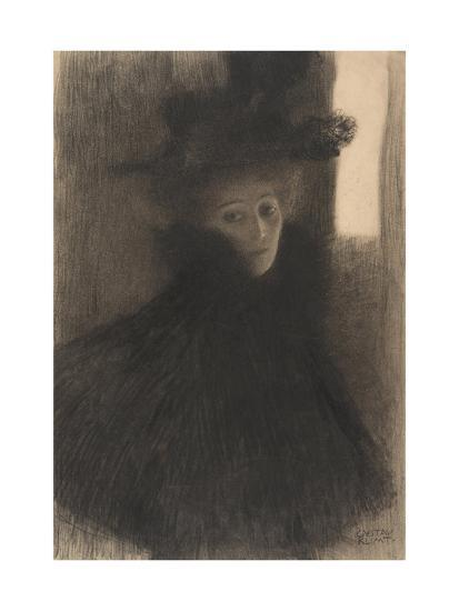 Portrait of a Lady with Cape and Hat, 1897-1898-Gustav Klimt-Giclee Print