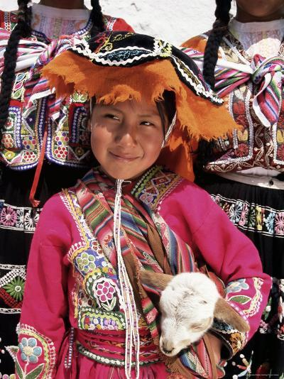 Portrait of a Local Smiling Peruvian Girl in Traditional Dress, Holding a Young Animal, Cuzco, Peru-Gavin Hellier-Photographic Print