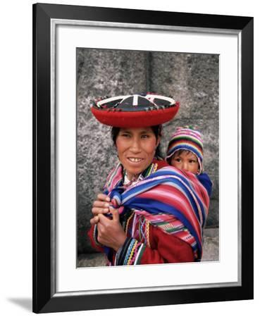 Portrait of a Local Woman in Traditional Dress, Carrying Her Baby on Her Back, Near Cuzco, Peru-Gavin Hellier-Framed Photographic Print
