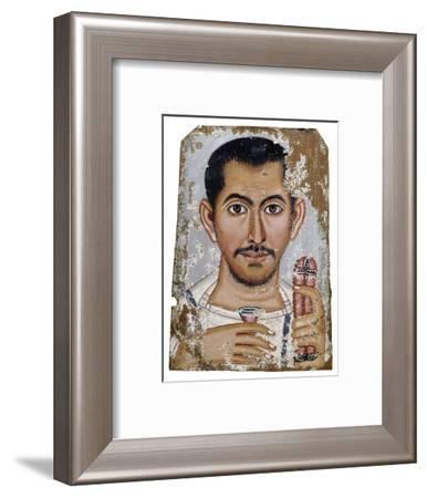 Portrait of a man holding a small glass vessel and garland, Ancient Egyptian, Roman period, 220-250-Werner Forman-Framed Giclee Print