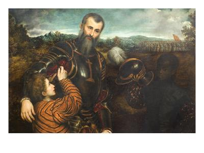 Portrait of a Man in Armor with Two Pages-Paris Bordone-Art Print