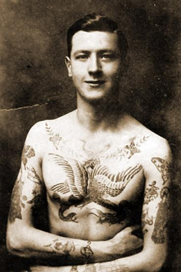 Portrait of a Man with an Elaborate Tattoos C.1920--Photographic Print