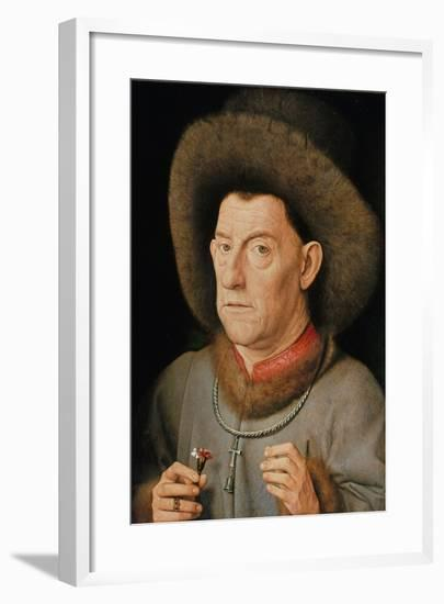 Portrait of a Man with Carnation and the Order of Saint Anthony-Jan van Eyck-Framed Giclee Print