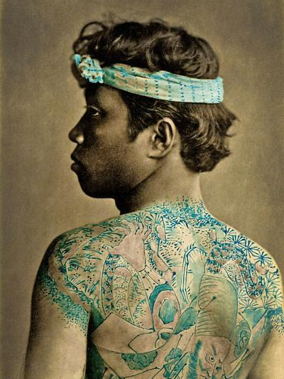 Portrait of a Man with Traditional Japanese Irezumi Tattoos, C.1880 (Hand Coloured Albumen Photo)--Photographic Print
