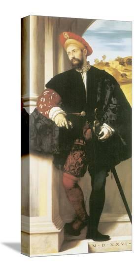 Portrait Of A Man-Alessando Bonvicino Moretto-Stretched Canvas Print