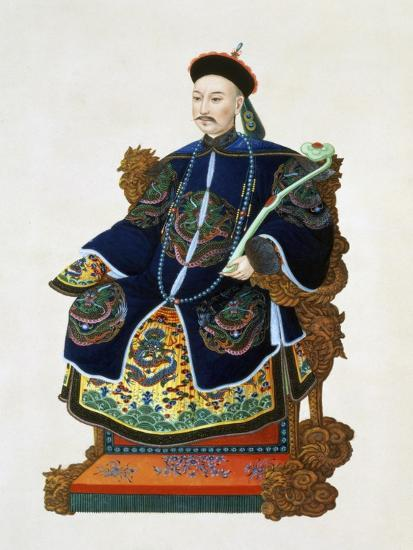 Portrait of a mandarin, China, 19th century-Unknown-Giclee Print