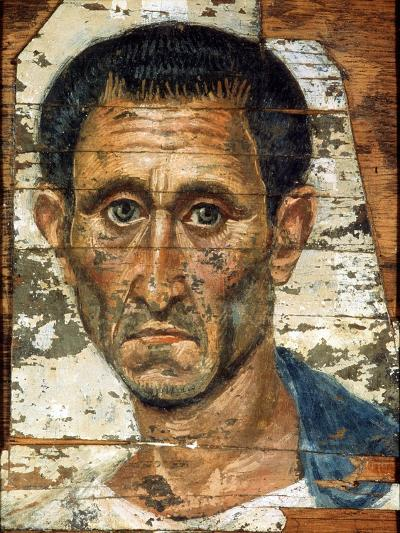 Portrait of a Middle-Aged Man in a Blue Cloak, Romano-Egyptian Mummy Portrait, Late 1st Century--Giclee Print