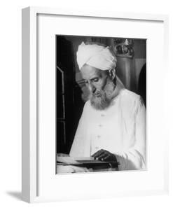 Portrait of a Moslem Imam Reading the Koran in the Jami' Masjid, the Largest Mosque in India