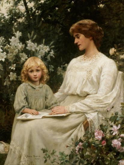 Portrait of a Mother and a Daughter Reading a Book-Edwin Harris-Giclee Print