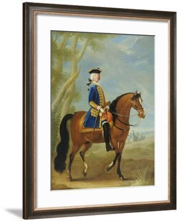 Portrait of a Mounted Officer, Horsemen Beyond in a Landscape-John Wootton-Framed Giclee Print