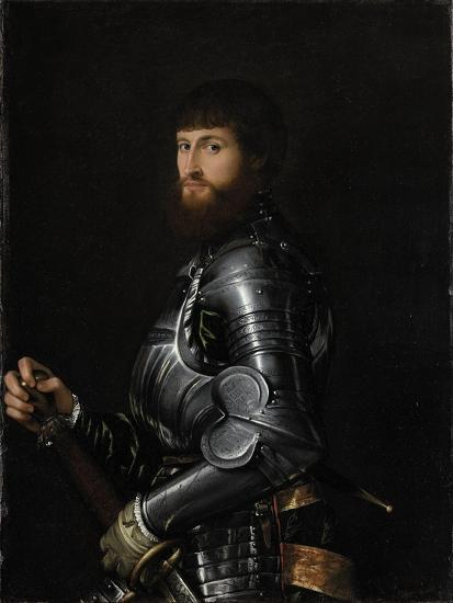 Portrait of a Nobleman in Armor- Giambattista Moroni & Lorenzo Lotto-Art Print