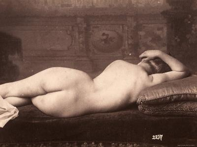 Portrait of a Nude Woman Lying on a Couch with Her Back to the Camera--Photographic Print
