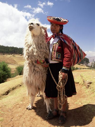 Portrait of a Peruvian Girl in Traditional Dress, with an Animal, Near Cuzco, Peru, South America-Gavin Hellier-Photographic Print