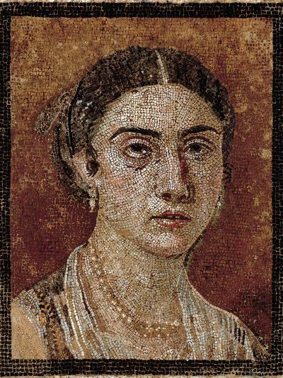 Portrait of a Pompeian Matron (Woman's Portrait), 1st Century, Mosaic Floor--Giclee Print
