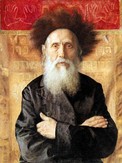 Portrait of a Rabbi before Torah Curtain-Isidor Kaufmann-Art Print