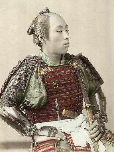 Portrait of a Samurai of Old Japan Armed with Full Body Armour, 1890--Photographic Print