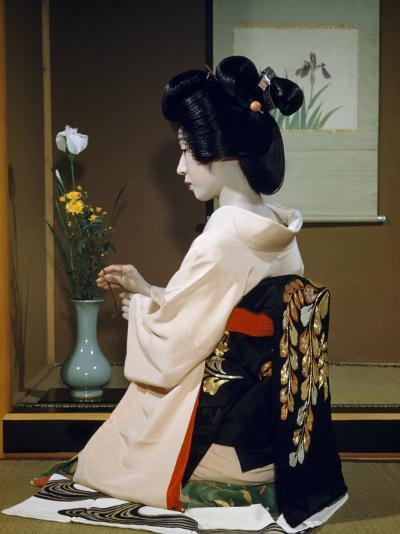 Portrait of a Seated Geisha Wearing Kimono and Obi-Joseph Baylor Roberts-Photographic Print