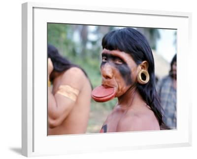 Portrait of a Suya Indian Man with Lip Plate, Brazil, South America-Robin Hanbury-tenison-Framed Photographic Print