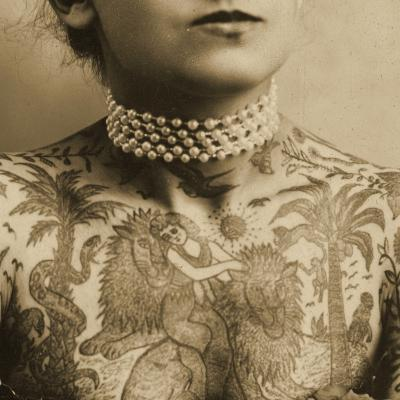 Portrait of a Tattooed Woman, C.1905--Photographic Print