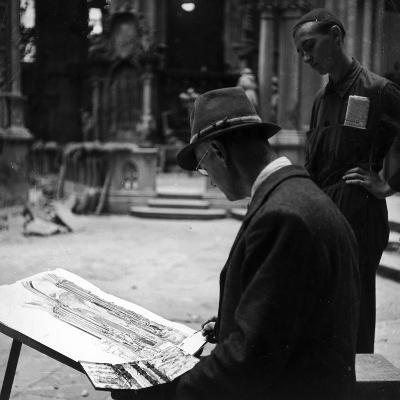 Portrait of a Watercolor While He's Painting an Architecture from Nature-Luigi Leoni-Photographic Print