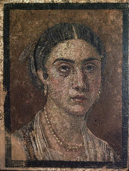 Portrait of a woman from a Roman floor mosaic, 1st century. Artist: Unknown-Unknown-Giclee Print