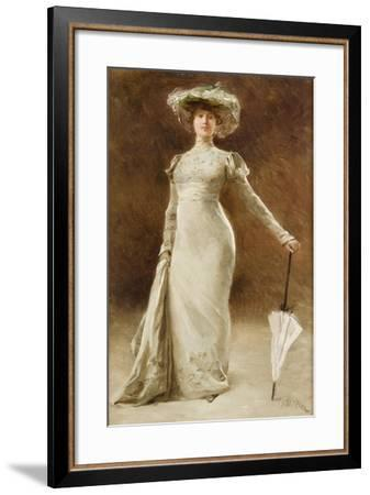 Portrait of a Woman with a Parasol-Francois Edouard Zier-Framed Giclee Print