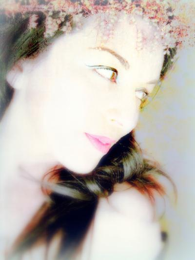 Portrait of a Woman with Flowers in Her Dark Hair-Alaya Gadeh-Photographic Print