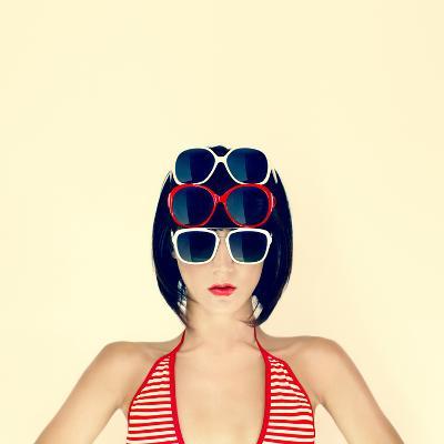 Portrait of a Young Girl in Stylish Glasses-Evgeniya Porechenskaya-Photographic Print