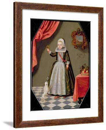 Portrait of a Young Girl with a Bird on Her Finger and a Dog at Her Feet, 1632--Framed Giclee Print