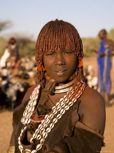 Portrait of a Young Hamer Woman with Goscha, Hamer Tribe, Southern Ethiopia-Gavin Hellier-Photographic Print