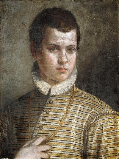 Portrait of a Young Man, Bust-Length, Wearing a Striped Costume and a White Ruff-Paolo Caliari-Giclee Print