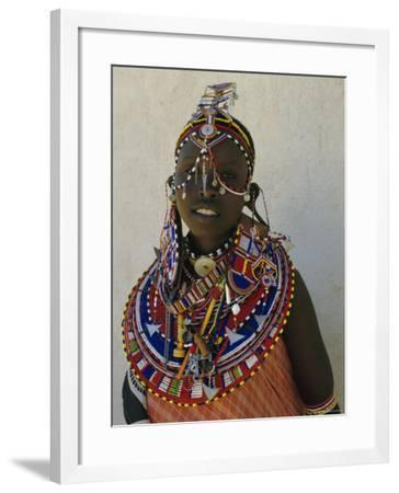 Portrait of a Young Samburu Woman in Traditional Dress and Jewellery, East Africa, Africa-Liba Taylor-Framed Photographic Print