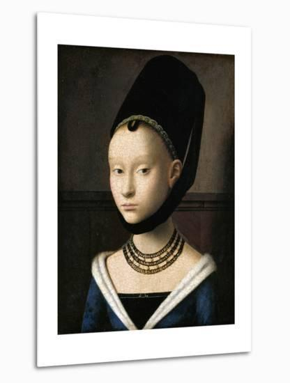 Portrait of a Young Woman by Petrus Christus--Metal Print