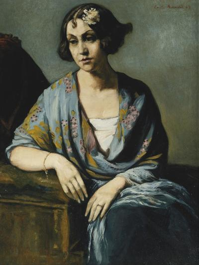 Portrait of a Young Woman Leaning on Her Elbow; Portrait De Jeune Fille Accoudee, 1928-Emile Bernard-Giclee Print