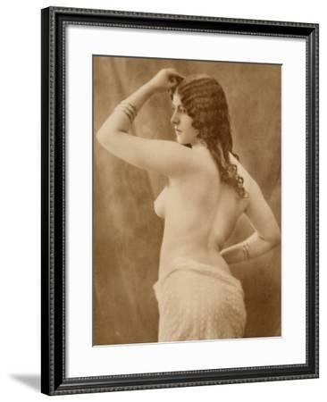 Portrait of a Young Woman, Partially Nude, Seen from the Rear--Framed Photographic Print
