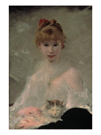 Portrait of a Young Woman with Cat-Charles Chaplin-Giclee Print