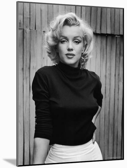 Portrait of Actress Marilyn Monroe on Patio of Her Home-Alfred Eisenstaedt-Mounted Premium Photographic Print