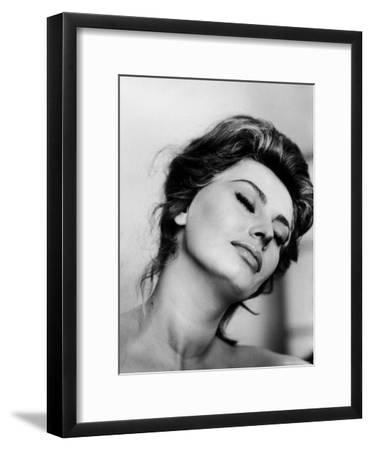 Portrait of Actress Sophia Loren with Eyes Closed-Alfred Eisenstaedt-Framed Premium Photographic Print