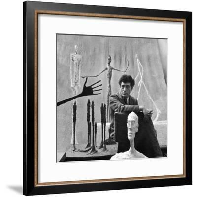 Portrait of Alberto Giacometti Surrounded by His Sculptures-Gordon Parks-Framed Premium Photographic Print