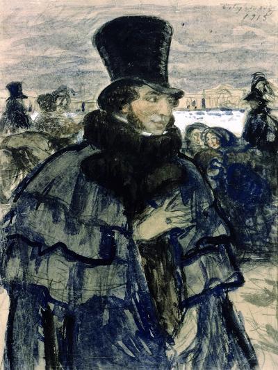 Portrait of Alexander Pushkin-B^ M^ Kustodiev-Giclee Print